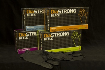 DiaSTRONG Extra Strong 5 mil Nitrile Gloves in Matte Black, 100/Box