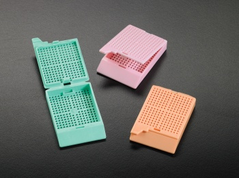 Biopsy Processing/Embedding Cassette with attached lid, Green, Non sterile, Bulk, 3 x 500/pk